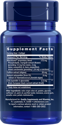 A bottle of Life Extension MacuGuard® Ocular Support with Saffron & Astaxanthin