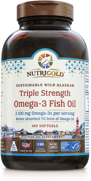 A bottle of NutriGold Triple Strength Omega-3 Fish Oil