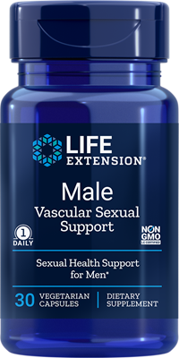 A bottle of Life Extension Male Vascular Sexual Support