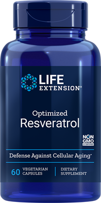 A bottle of Life Extension Optimized Resveratrol