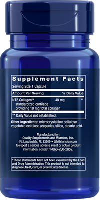A bottle of Life Extension NT2 Collagen 40 MG