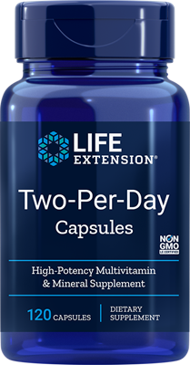 A bottle of Life Extension Two-Per-Day Capsules