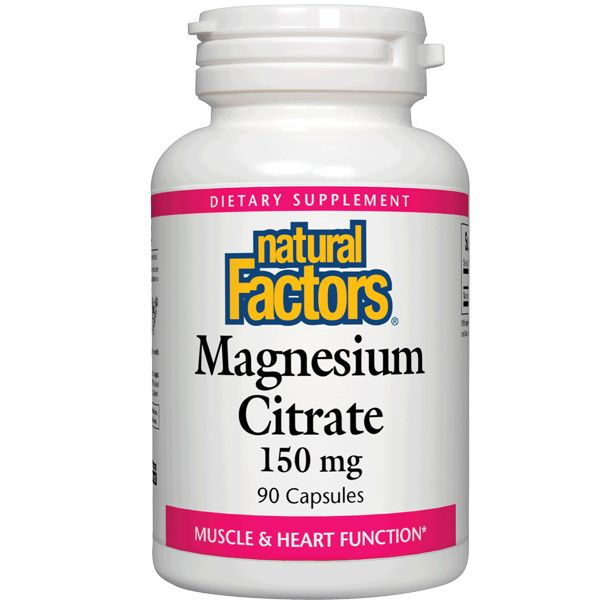 A bottle of Natural Factors Magnesium Citrate 150 mg