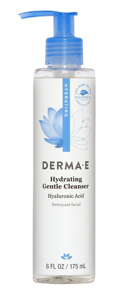 A bottle of Derma E Hydrating Gentle Cleanser with Hyaluronic Acid