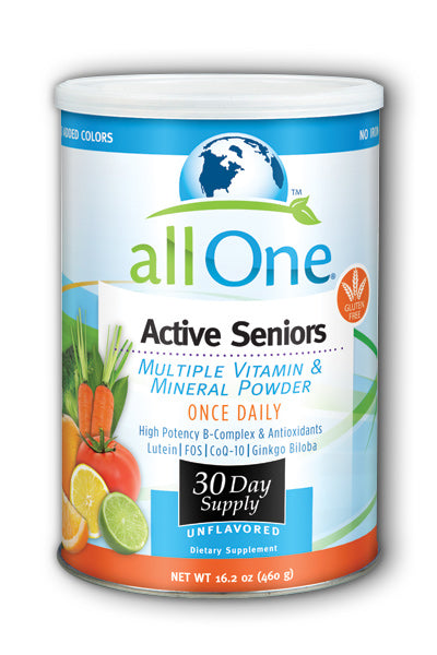 Jar of Active Seniors multiple vitamin & mineral powder