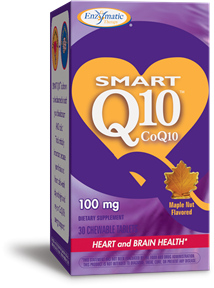 A package of Enzymatic Therapy Smart Q10 CoQ10 100 mg - Maple Nut Flavor
