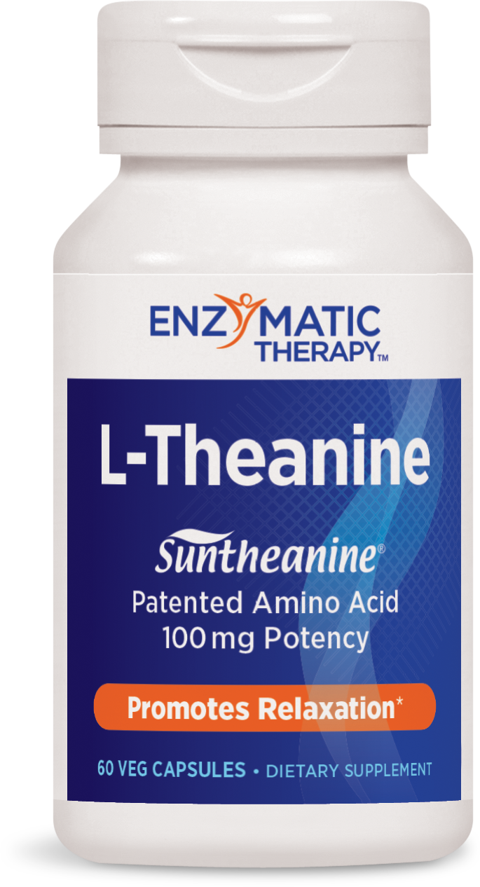 A bottle of Enzynatic Therapy L-Theanine 100 mg