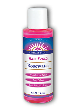 A bottle of Heritage Store Rosewater 4 fl oz
