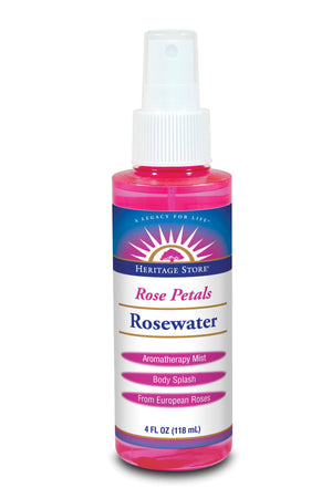 A bottle of Heritage Store Rosewater with Atomizer 4 fl oz
