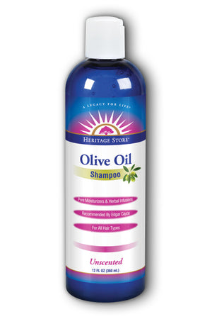 A bottle of Heritage Store Olive Oil Shampoo, Unscented 12 oz