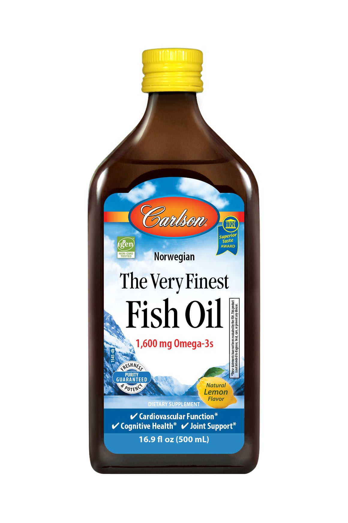 A bottle of Carlson The Very Finest Fish Oil™ Liquid Lemon
