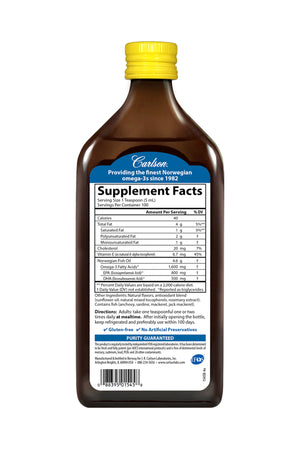 Back of bottle of Supplemental Facts for Carlson The Very Finest Fish Oil™ Liquid Lemon