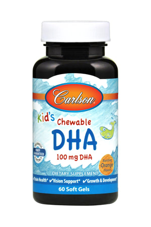 A bottle of Carlson Kid's Chewable DHA