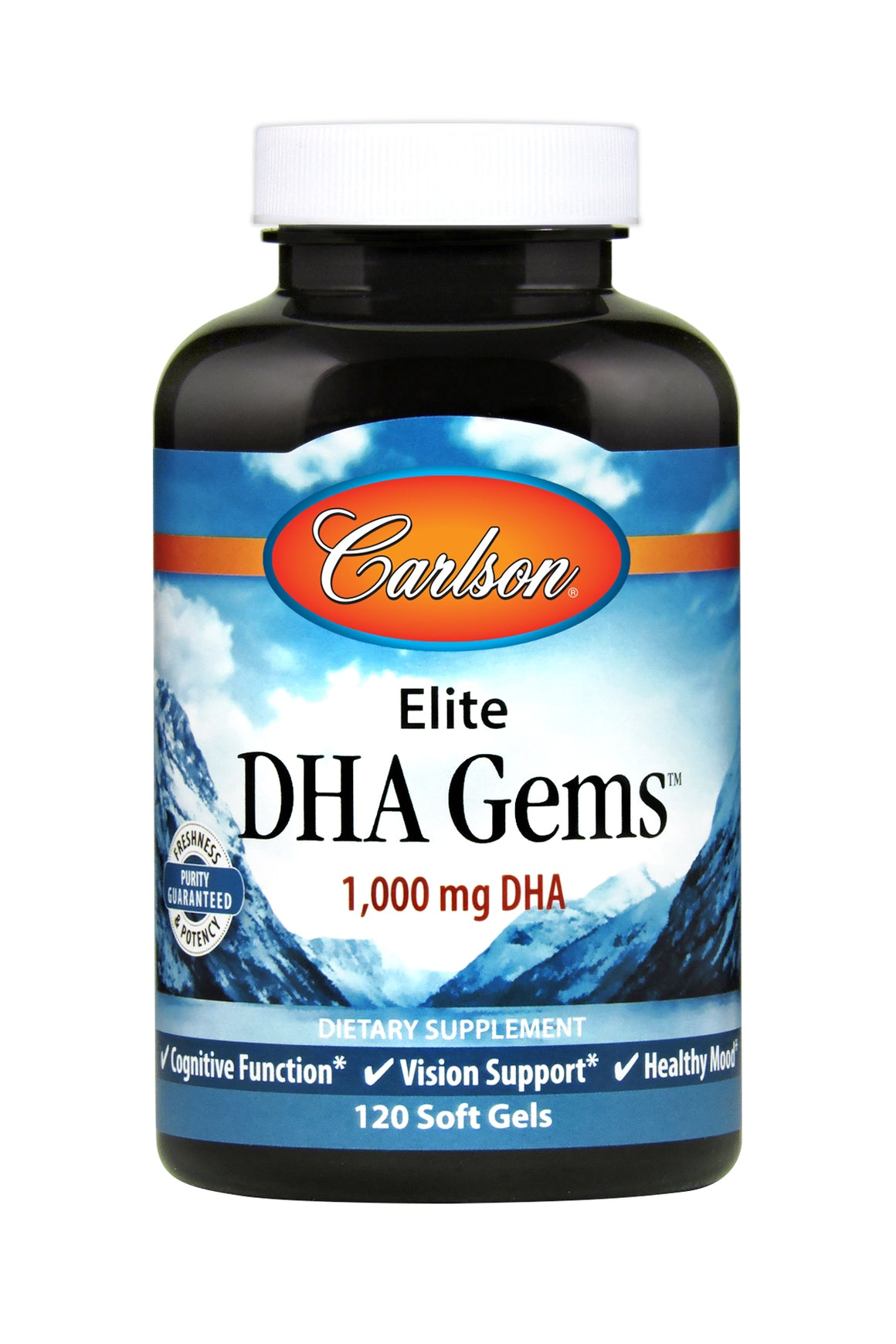 A bottle of Carlson Elite DHA Gems