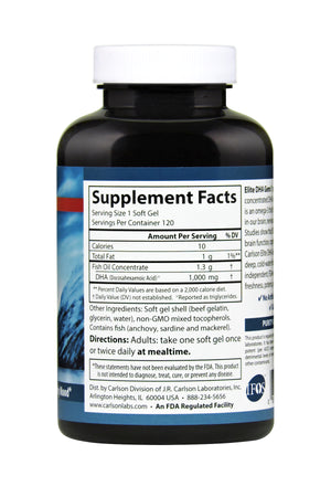 Back of bottle with supplemental facts for Carlson Elite DHA Gems