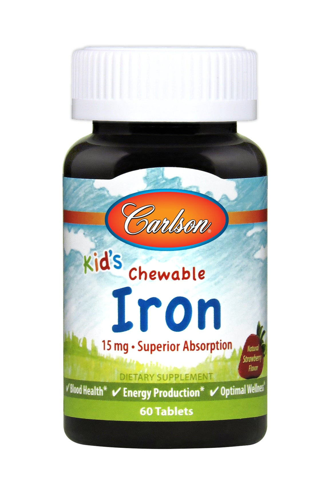 A bottle of Carlson Kid's Chewable Iron