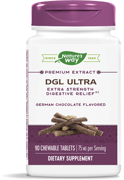 A bottle of Nature's Way DGL Ultra German Chocolate