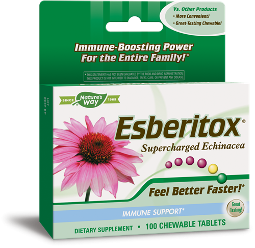 A package of Nature's Way Esberitox® Supercharged Echinacea 100 chewable tablets