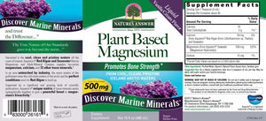A label with additional info and supplemental facts for Nature's Answer Plant Based Magnesium Liquid 500 mg (16 fl oz)