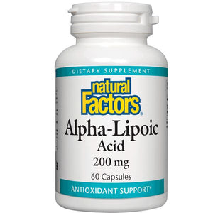 A bottle of Natural Factors Alpha-Lipoic Acid 200 mg
