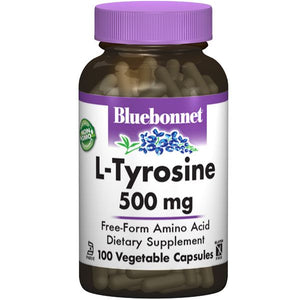 A bottle of Bluebonnet L-Tyrosine 500 mg