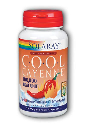A bottle of Solaray Extra Hot Cool Cayenne Pepper 100,000 HU