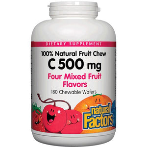 A bottle of Natural Factors Vitamin C 500 mg 100% Natural Fruit Chew Mixed Fruit