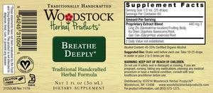 The label with supplemental facts for  Woodstock Herbal Products Breathe Deeply