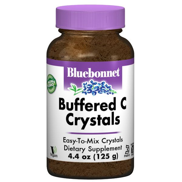 A bottle of Bluebonnet Buffered Vitamin C Crystals