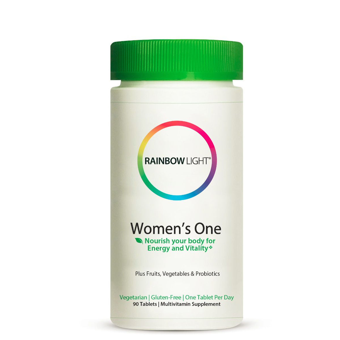A bottle of Rainbow Light Women's One Multivitamin