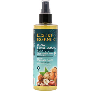 A bottle of Desert Essence Jojoba & Sweet Almond Body Oil