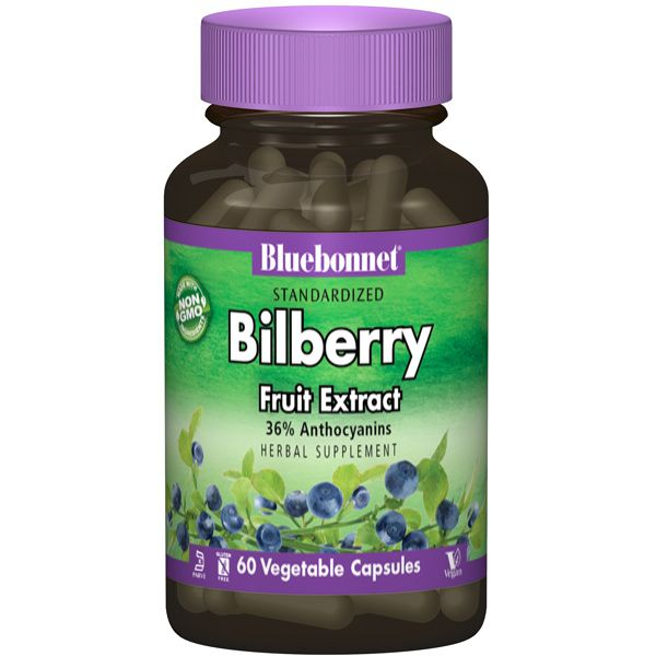 A bottle of Bluebonnet Bilberry Fruit Extract