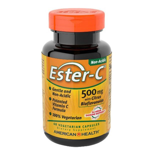 A bottle of American Health Ester-C® 500 mg with Citrus Bioflavonoids