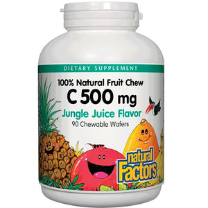 A bottle of Natural Factors Vitamin C 500 mg 100% Natural Fruit Chew Jungle Juice