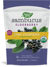 A package of Nature's Way Sambucus Zinc Lozenges Mint Flavor