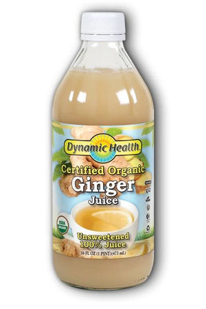 A bottle of Dynamic Health for Ginger juice Certified Organic