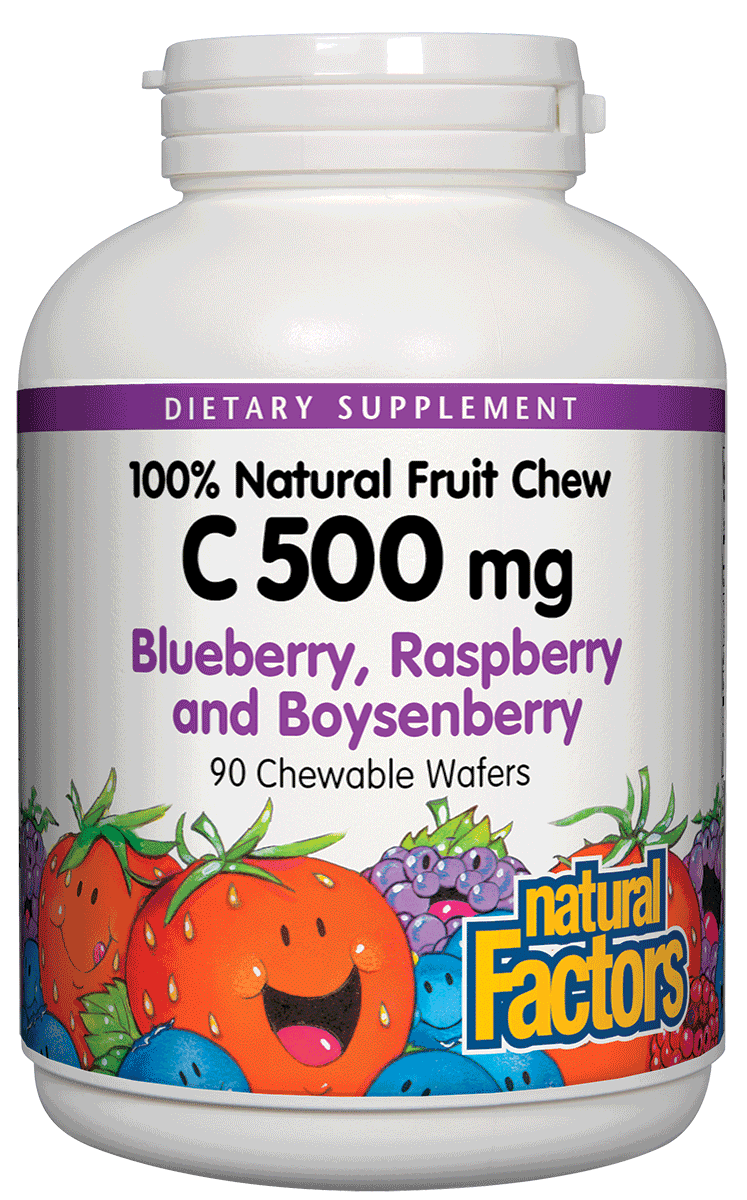 A bottle of Natural Factors Vitamin C 500 mg Natural Fruit Chews Blueberry, Raspberry & Boysenberry