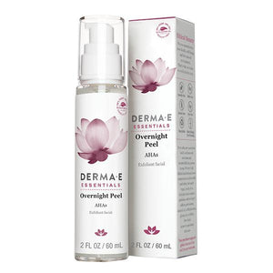 A bottle and package of Derma E Overnight Peel with Alpha Hydroxy Acids