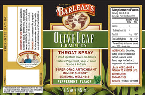 Label with supplemental facts and additional info for Barleans Olive Leaf Complex Throat Spray