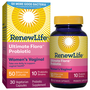 A package and bottle of Renew Life Ultimate Flora Women's Vaginal Probiotic 50 Billion