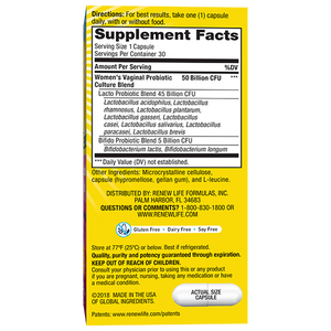 Back of package with supplement facts for Renew Life Ultimate Flora Women's Vaginal Probiotic 50 Billion