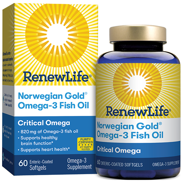 A package and bottle of Renew Life Norwegian Gold® Critical Omega