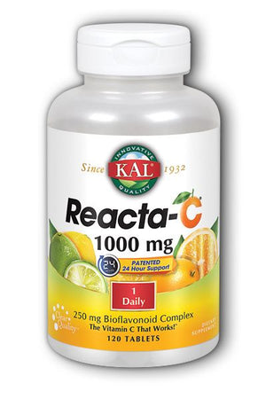 A bottle of KAL Reacta-C® 1000 mg