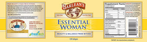 A label with additional informations and supplemental facts for Barleans Essential Woman®