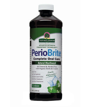 A bottle of Nature's Answer PerioBrite Mouthwash Alcohol-Free Coolmint
