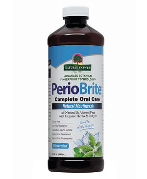 A bottle of Nature's Answer PerioBrite Mouthwash Alcohol Free Wintermint