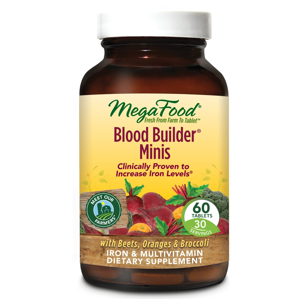 A bottle of Megafood Blood Builder® Minis