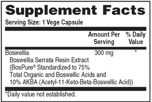 Supplement Facts for Health Thru Nutrition Boswellia 300mg