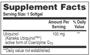 Supplement Facts for Health Thru Nutrition Ubiquinol CoQ10 100mg