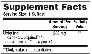 Supplement Facts for  Health Thru Nutrition Ubiquinol Kaneka™ 200mg